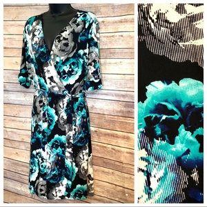 Apt 9 Dress Faux Wrap Spandex Black-Multi